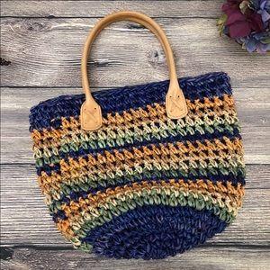 Vintage Waves Tandem Crocheted Jute straw Bag